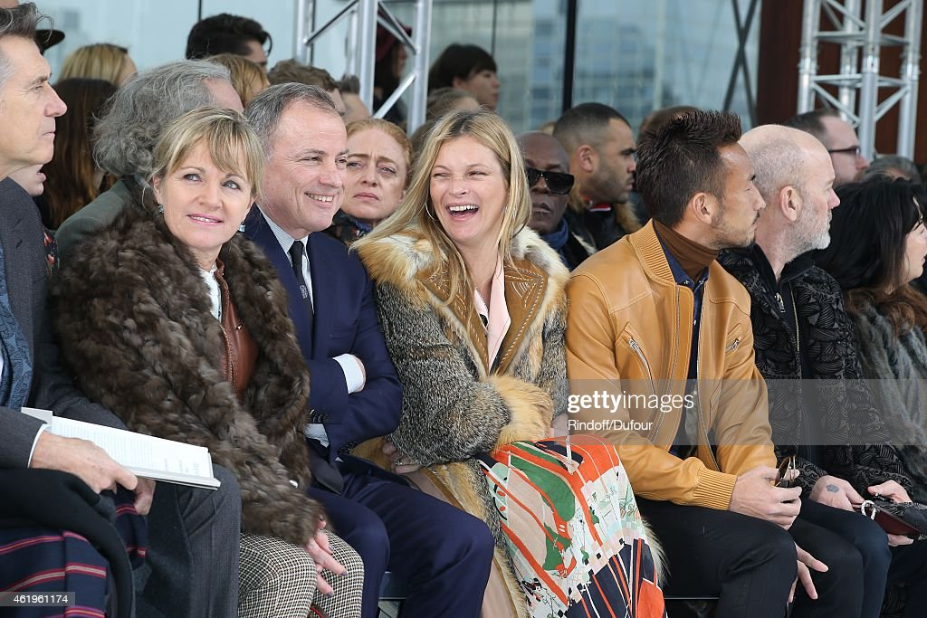 MMe Michael Burke, Kate Moss and Hidetoshi Nakata attend the Louis Vuitton Menswear Fall/Winter 2015-2016 Show as part of Paris Fashion Week on January 22, 2015 in Paris, France.