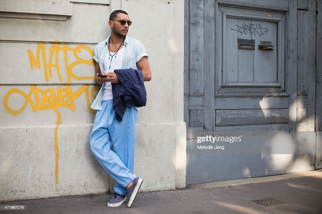 Mo Anwar poses during Milan Men's Fashion Week Spring/Summer 2016 on June 20, 2015 in Milan, Italy.