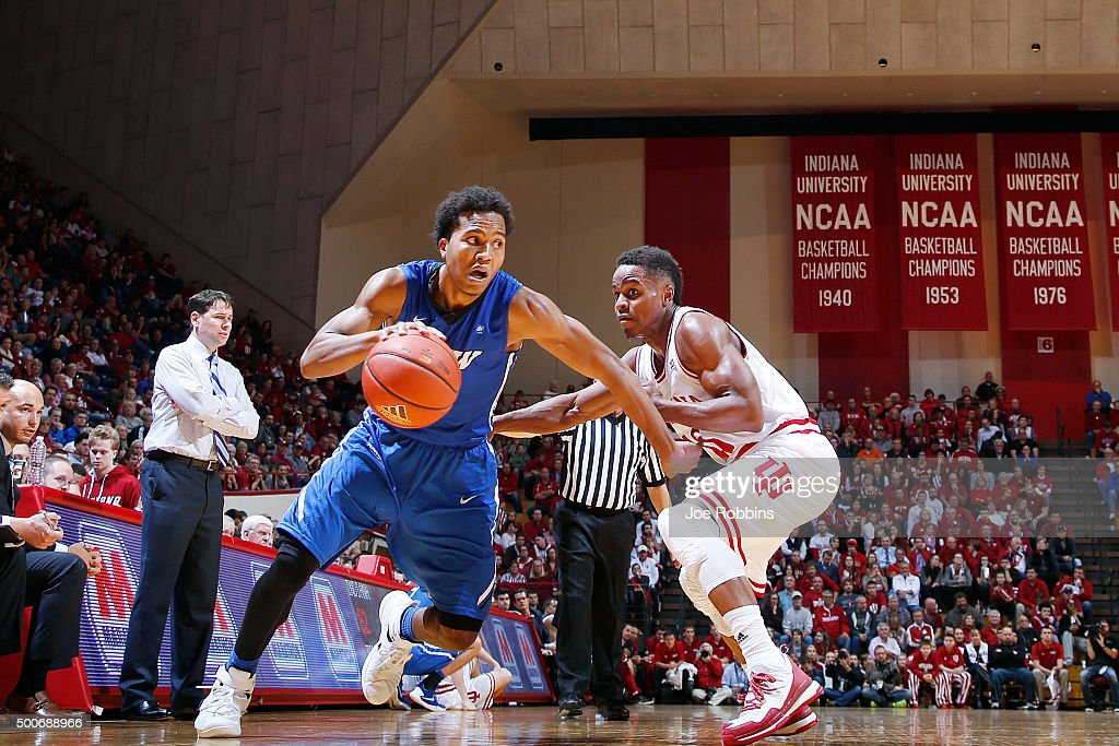 Mo Evans #0 of the IPFW Mastodons drives to the basket against Yogi Ferrell #11 of the Indiana Hoosiers in the second half of the game at Assembly Hall on December 9, 2015 in Bloomington, Indiana. Indiana defeated IPFW