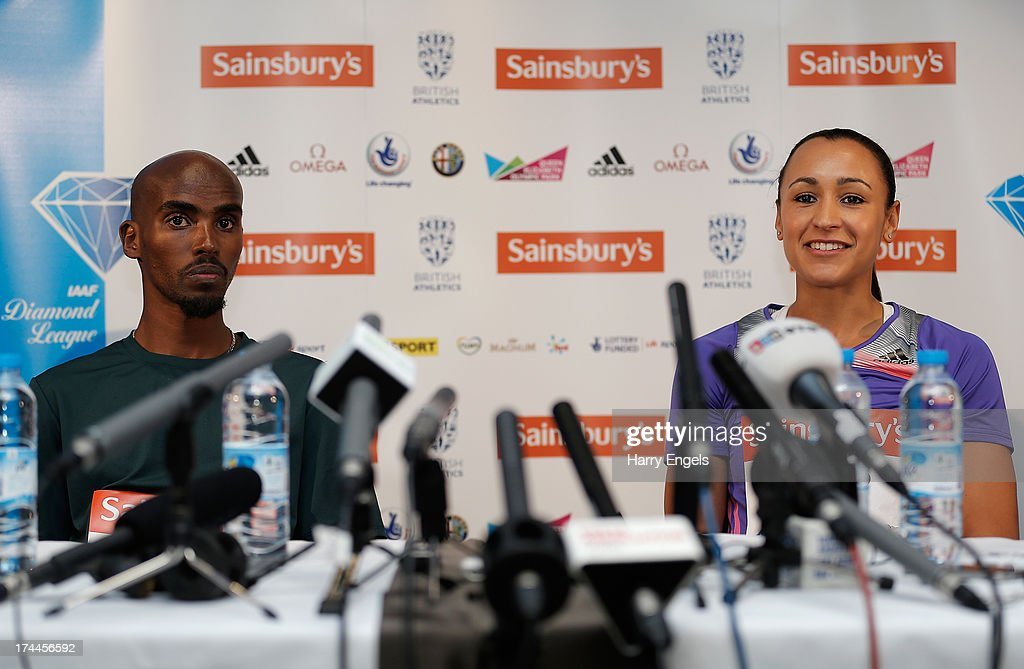 Mo Farah (L) and Jessica Ennis-Hill of Great Britain speak to members of the media during a press conference on day one of the Sainsbury's Anniversary Games - IAAF Diamond League at the Grange Tower Bridge Hotel on July 26, 2013 in London, England.