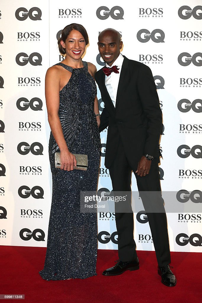 Mo Farah and Tania Nell arrive for GQ Men Of The Year Awards 2016 at Tate Modern on September 6, 2016 in London, England.