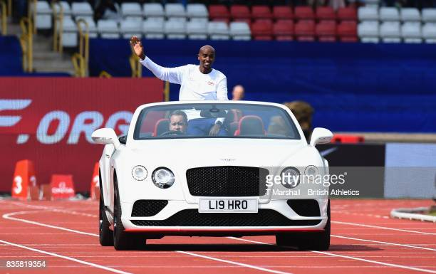 Mo Farah arrives in an open top Bentley during the Muller Grand Prix and IAAF Diamond League event at Alexander Stadium on August 20 2017 in...