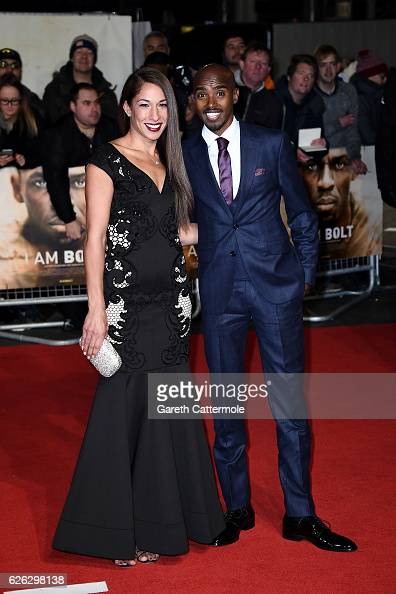 Mo Farah CBE and wife Tania attend the World Premiere of 'I Am Bolt' at Odeon Leicester Square on November 28 2016 in London England