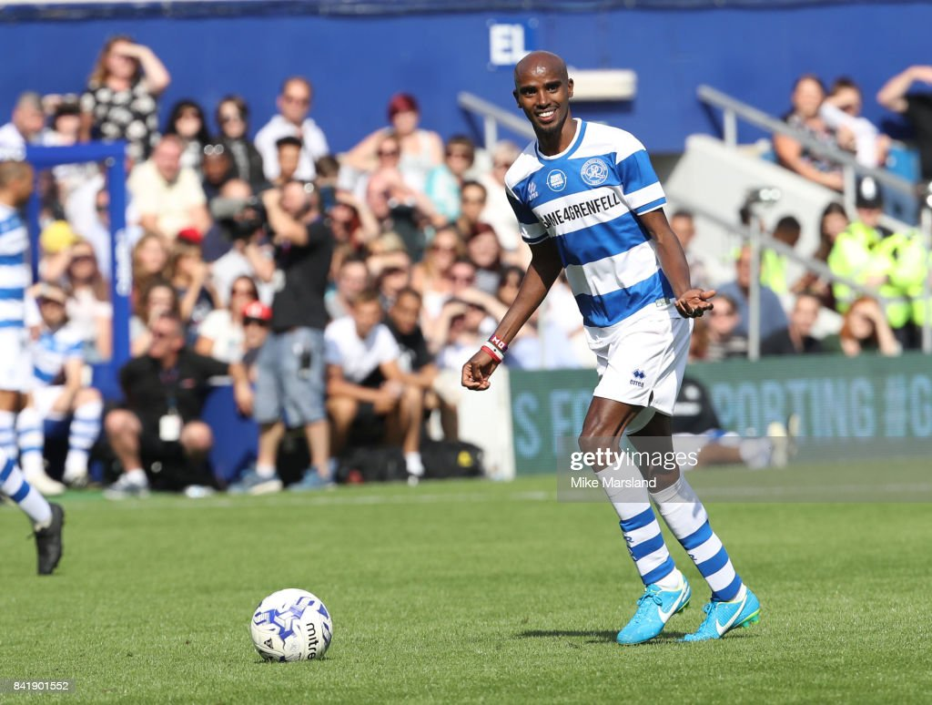 Mo Farah during the #GAME4GRENFELL at Loftus Road on September 2, 2017 in London, England. The charity football match has been set up to benefit those who were affected in the Grenfell Tower disaster.