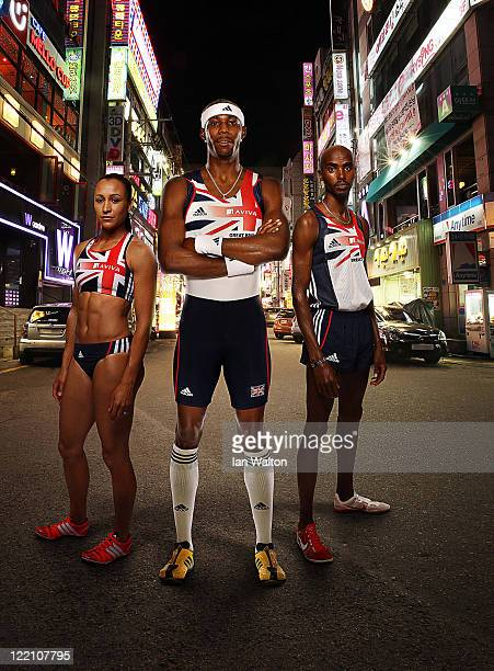 Mo Farah Jessica Ennis and Phillips Idowu of Great Britain Northern Ireland pose for a portrait during the Aviva funded GBNI Team Preparation Camp on...