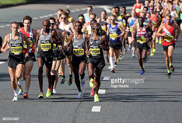 Mo Farah of Britain runs during The Great North Run on September 11 2016 in Newcastle upon Tyne England