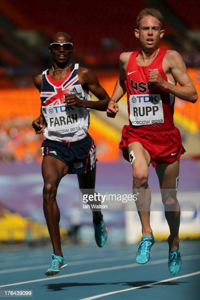 Mo Farah of Great Britain and Galen Rupp of the United States compete during the Men's 5000 metres heats during Day Four of the 14th IAAF World...