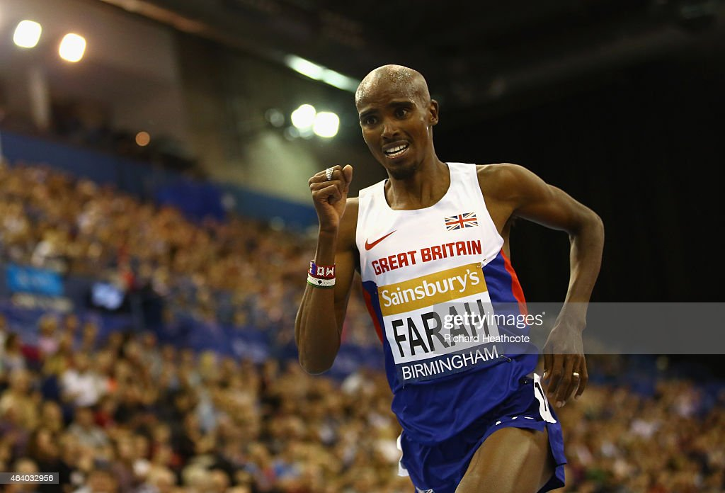 <a gi-track='captionPersonalityLinkClicked' href=/galleries/search?phrase=Mo+Farah&family=editorial&specificpeople=4819130 ng-click='$event.stopPropagation()'>Mo Farah</a> of Great Britain and Northern Ireland on his way to winning the Men's 2 Miles final during the Sainsbury's Indoor Grand Prix at Barclaycard Arena on February 21, 2015 in Birmingham, England.