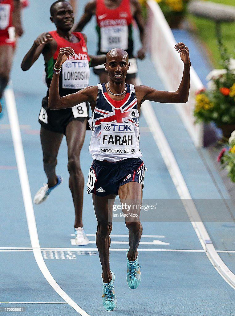 <a gi-track='captionPersonalityLinkClicked' href=/galleries/search?phrase=Mo+Farah&family=editorial&specificpeople=4819130 ng-click='$event.stopPropagation()'>Mo Farah</a> of Great Britain celebrates after winning the 5000m Final during Day Seven of the 14th IAAF World Athletics Championships Moscow 2013 at Luzhniki Stadium on August 16, 2013 in Moscow, Russia.