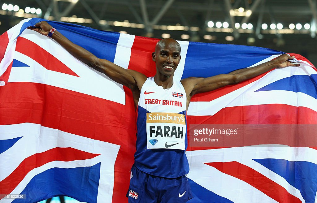 <a gi-track='captionPersonalityLinkClicked' href=/galleries/search?phrase=Mo+Farah&family=editorial&specificpeople=4819130 ng-click='$event.stopPropagation()'>Mo Farah</a> of Great Britain celebrates after winning the Mens 3000m Final during day one of the Sainsbury's Anniversary Games at The Stadium - Queen Elizabeth Olympic Park on July 24, 2015 in London, England.