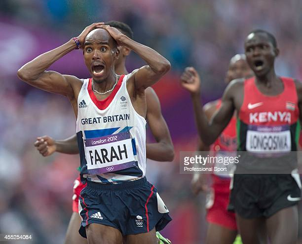 Mo Farah of Great Britain celebrates victory in the Men's 5000m Final on Day 15 of the London 2012 Olympic Games at Olympic Stadium on August 11 2012...