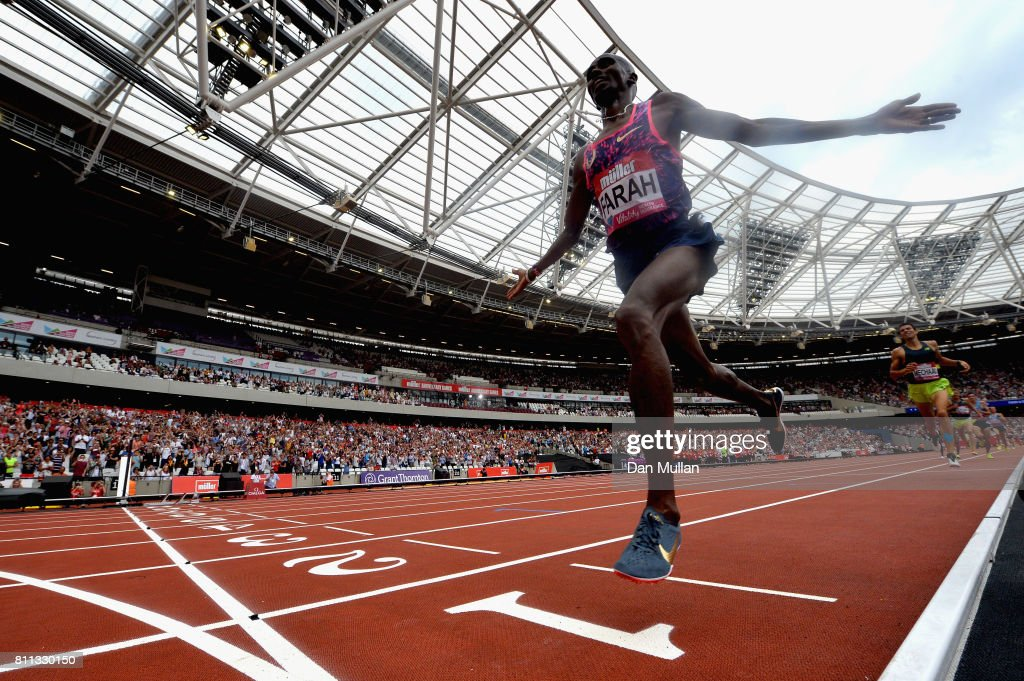 Mo Farah of Great Britain celebrates winning in the 3000m final during the Muller Anniversary Games at London Stadium on July 9, 2017 in London, England.