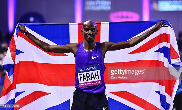 Mo Farah of Great Britain celebrates winning the Men's 3000 metres final during the Glasgow Indoor Grand Prix at Emirates Arena on February 20 2016...