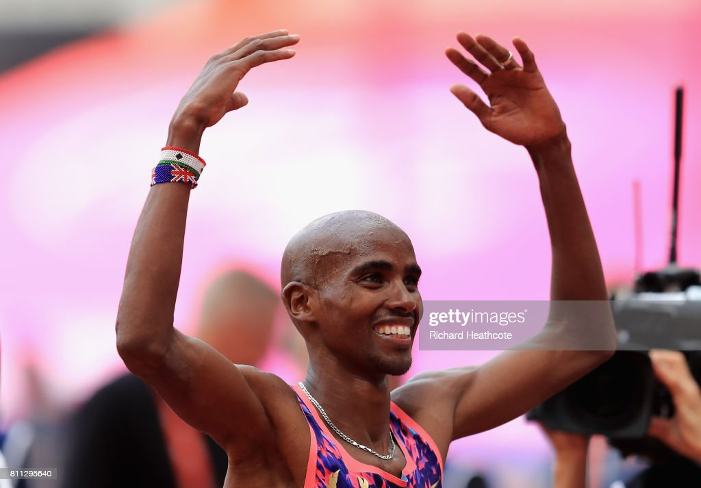Mo Farah of Great Britain celebrates winning the Men's 3000m during the Muller Anniversary Games at London Stadium on July 9, 2017 in London, England.