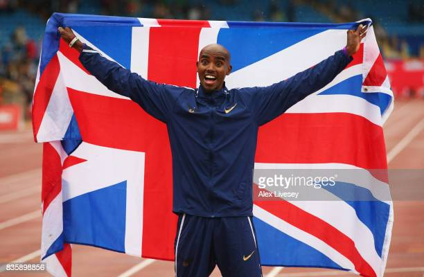 Mo Farah of Great Britain celebrates winning the Men's 3000m his last UK track race during the Muller Grand Prix Birmingham as part of the IAAF...