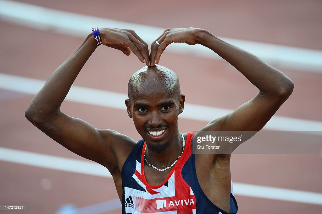 <a gi-track='captionPersonalityLinkClicked' href=/galleries/search?phrase=Mo+Farah&family=editorial&specificpeople=4819130 ng-click='$event.stopPropagation()'>Mo Farah</a> of Great Britain celebrates winning the Men's 5000 Metre Final during day one of the 21st European Athletics Championships at the Olympic Stadium on June 27, 2012 in Helsinki, Finland.