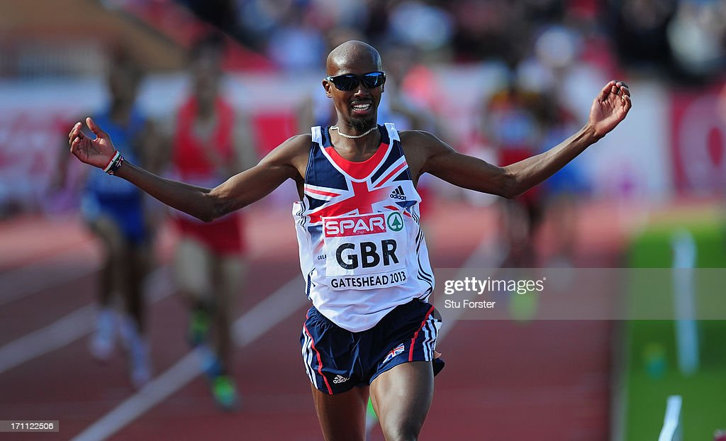 Mo Farah of Great Britain celebrates winning the Mens 5000 metres final during day one of the European Athletics Team Championships at Gateshead International Stadium on June 22, 2013 in Gateshead, England.