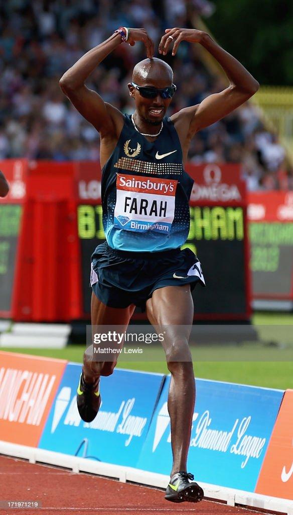 Mo Farah of Great Britain celebrates winning the Mens 500m during the Sainsbury's Grand Prix Birmingham IAAF Diamond League at Alexander Stadium on June 30, 2013 in Birmingham, England.