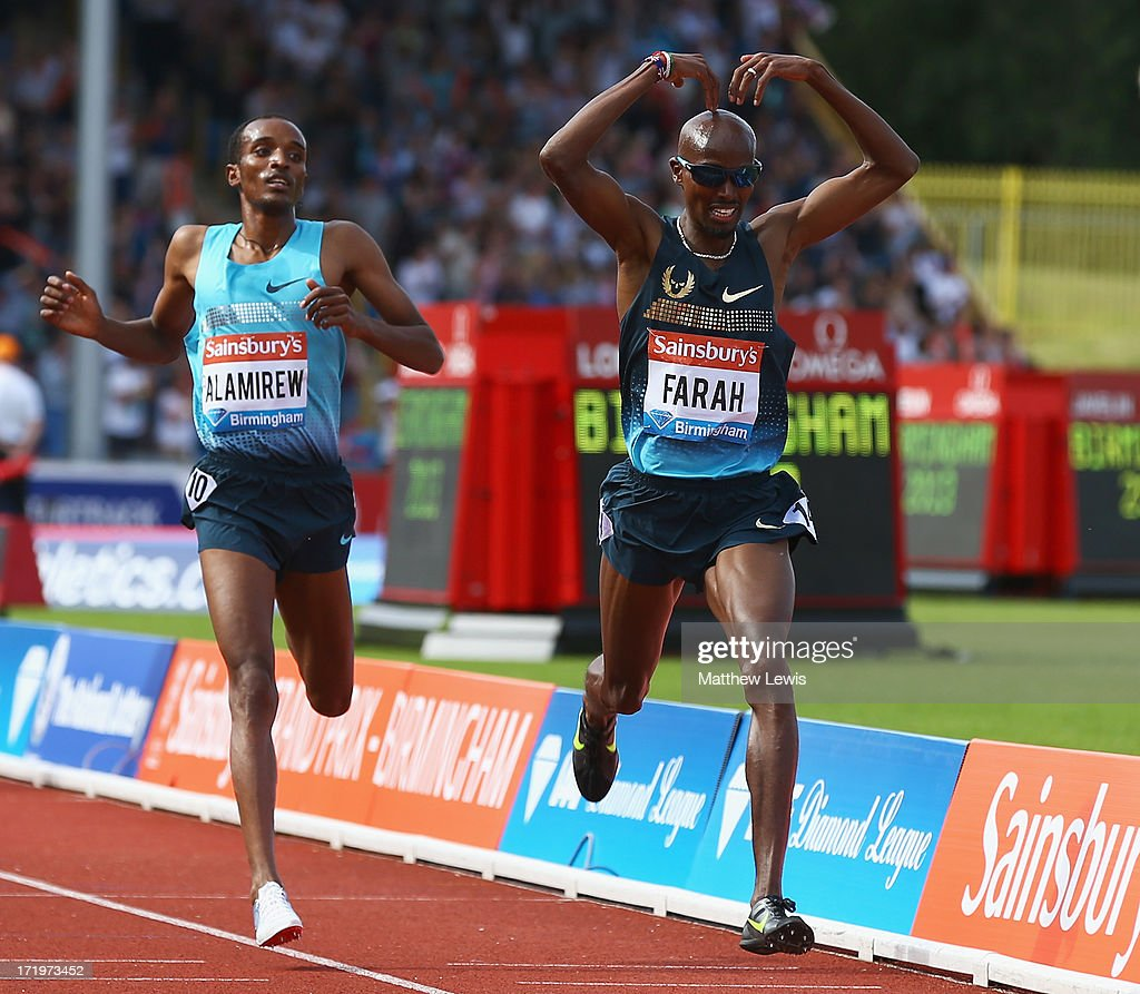 Mo Farah of Great Britain celebrates winning the Mens 500m during the Sainsbury's Grand Prix Birmingham IAAF Diamond League at Alexander Stadium on June 30, 2013 in Birmingham, England.