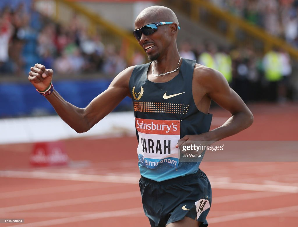 Mo Farah of Great Britain celebrates winning the Mens 500m during the IAAF Diamond League at Alexander Stadium on June 30, 2013 in Birmingham, England.