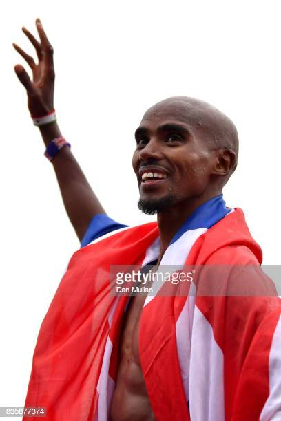 Mo Farah of Great Britain celebrates winning the the Men's 3000m his last UK track race during the Muller Grand Prix Birmingham as part of the IAAF...