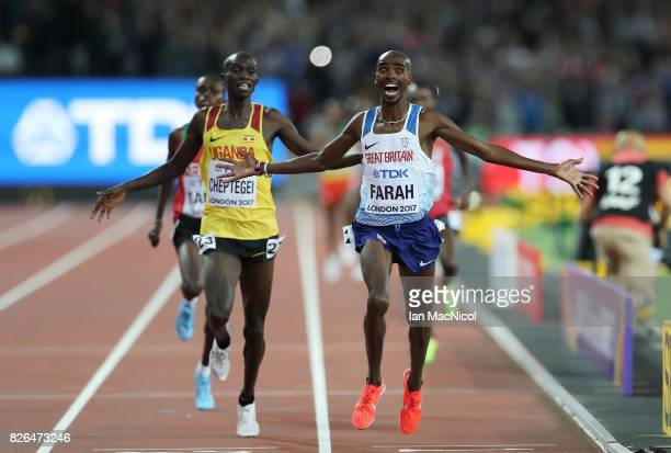 Mo Farah of Great Britain competes in the Men's 10000m final during day one of the 16th IAAF World Athletics Championships London 2017 at The London...