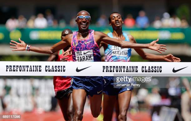 Mo Farah of Great Britain crosses the finish line to win the 5000m during the 2017 Prefontaine Classic Diamond League at Hayward Field on May 27 2017...