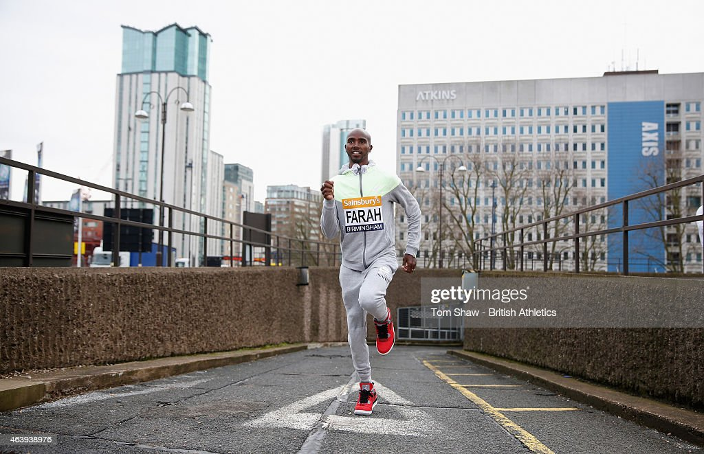 Mo Farah of Great Britain goes for a run during the preview press conference for the Sainsbury's Indoor Grand Prix at the Crowne Plaza Hotel on...