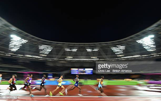 Mo Farah of Great Britain in second place as he goes on to win the Mens 3000m during Day 1 of the Sainsbury's Anniversary Games Diamond League event...