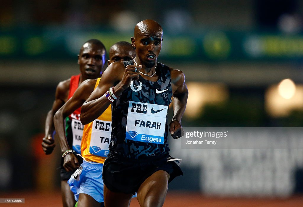 Mo Farah of Great Britain leads the pack during the 10000m during Day 1 of the IAAF Diamond League Prefontaine Classic at Hayward Field on May 29...
