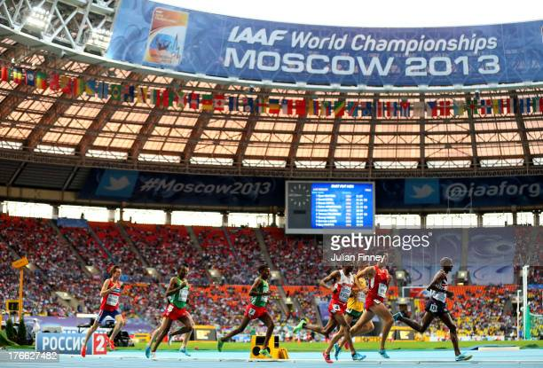 Mo Farah of Great Britain leads the pack in the Men's 5000 metres final during Day Seven of the 14th IAAF World Athletics Championships Moscow 2013...