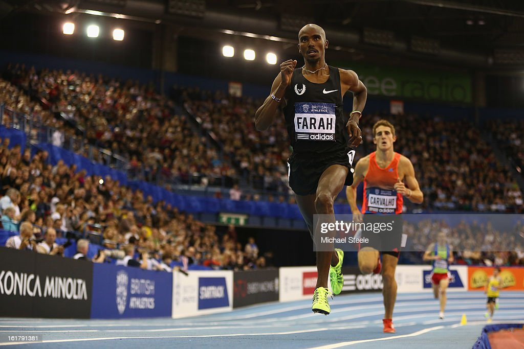 <a gi-track='captionPersonalityLinkClicked' href=/galleries/search?phrase=Mo+Farah&family=editorial&specificpeople=4819130 ng-click='$event.stopPropagation()'>Mo Farah</a> of Great Britain on his way to victory in the men's 3000m during the British Athletics Grand Prix at the National Indoor Arena on February 16, 2013 in Birmingham, England.