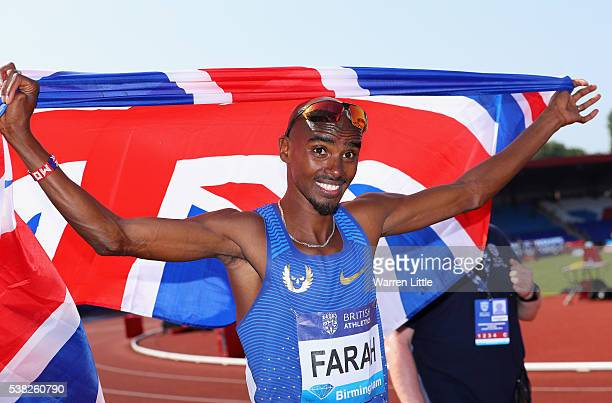 Mo Farah of Great Britain poses for a picture after winning the Men's 3000m during the Birmingham Diamond League meet at Alexander Stadium on June 5...