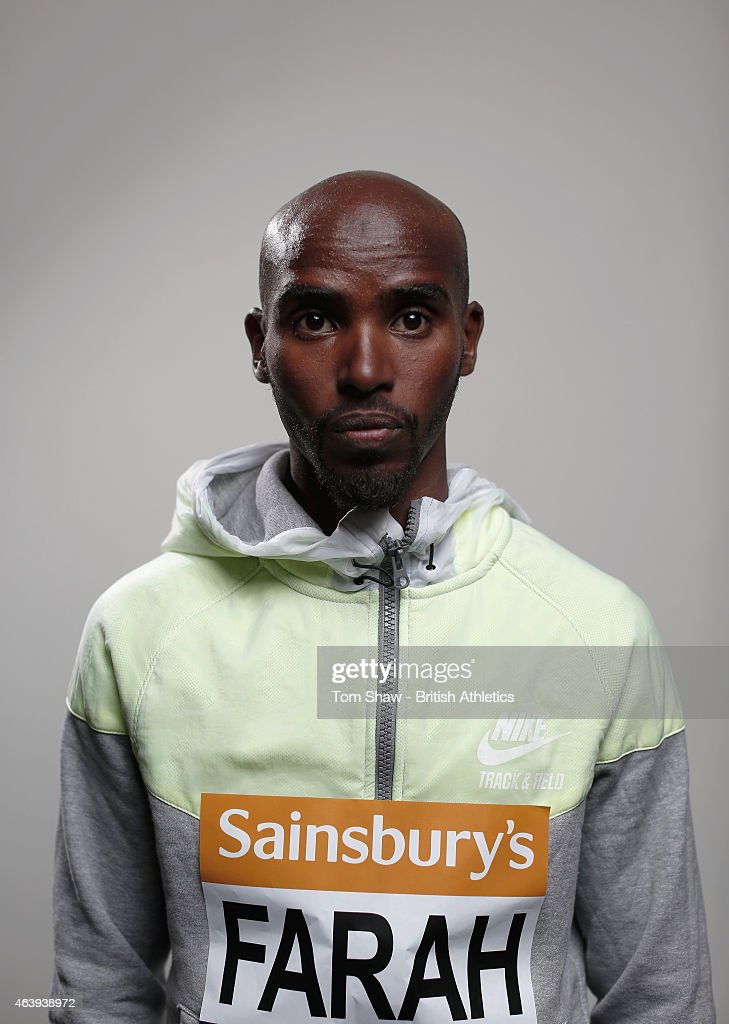 Mo Farah of Great Britain poses for a picture during the preview press conference for the Sainsbury's Indoor Grand Prix at the Crowne Plaza Hotel on...