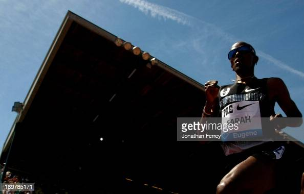 Mo Farah of Great Britain runs in the 5000m during day 2 of the IAAF Diamond League Prefontaine Classic on June 1 2013 at the Hayward Field in Eugene...