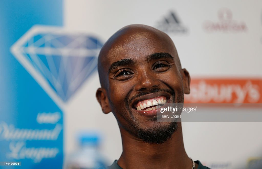 Mo Farah of Great Britain speaks to members of the media during a press conference on day one of the Sainsbury's Anniversary Games - IAAF Diamond League at the Grange Tower Bridge Hotel on July 26, 2013 in London, England.
