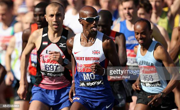 Mo Farah of Great Britain starts the Virgin London Marathon on April 13 2014 in London England