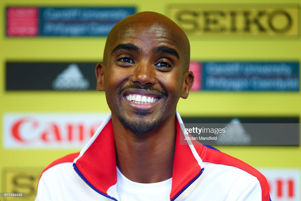 <a gi-track='captionPersonalityLinkClicked' href=/galleries/search?phrase=Mo+Farah&family=editorial&specificpeople=4819130 ng-click='$event.stopPropagation()'>Mo Farah</a> of Great Britain talks during a press conference ahead of the IAAF/Cardiff University World Half Marathon Championships - Previews at the Motorpoint Arena on March 25, 2016 in Cardiff, Wales.