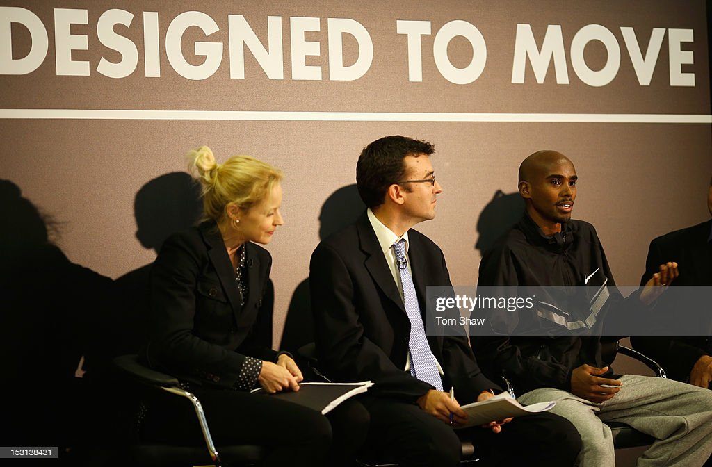 <a gi-track='captionPersonalityLinkClicked' href=/galleries/search?phrase=Mo+Farah&family=editorial&specificpeople=4819130 ng-click='$event.stopPropagation()'>Mo Farah</a> of Great Britain talks to the press at Lilian Baylis Old School to announce the findings of a report published today, written by the Young Foundation and funded by Nike, which finds that physical inactivity costs the UK economy GBP 8.2bn per year. The Move It report warns that England faces an epidemic of physical inactivity unless the Government makes significant changes to the nation's sporting infrastructure. For more information www.designedtomove.org on October 1, 2012 in London, England.