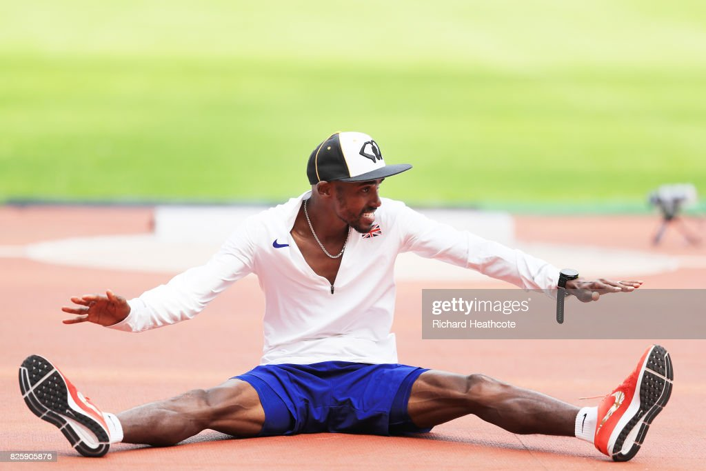 Mo Farah of Great Britain trains prior to the 16th IAAF World Athletics Championships London 2017 at The London Stadium on August 3, 2017 in London, United Kingdom.