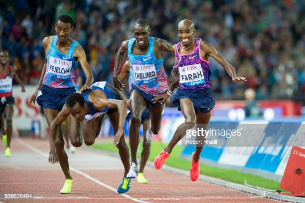 Mo Farah of Great Britain wins in the MenÕs 5000 metres during the Diamond League Athletics meeting 'Weltklasse' on August 24 2017 at the Letziground...