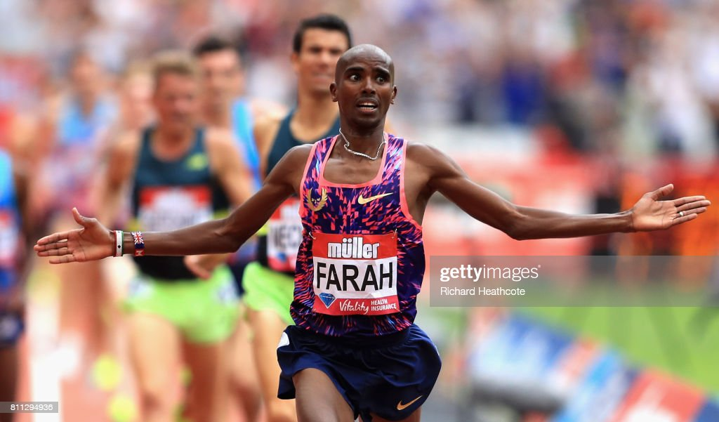 Mo Farah of Great Britain wins the Men's 3000m during the Muller Anniversary Games at London Stadium on July 9, 2017 in London, England.