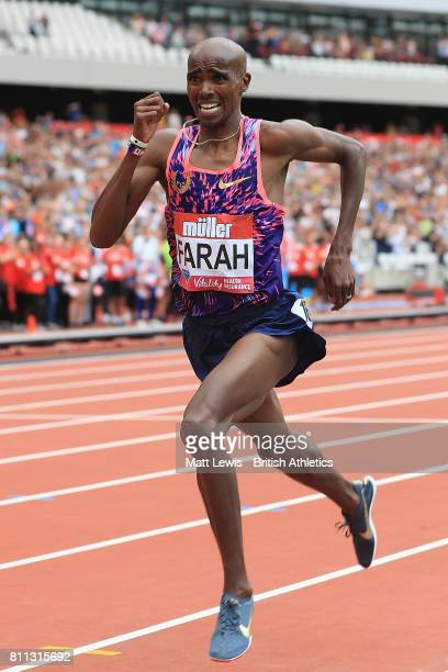 Mo Farah of Great Britain wins the Mens 3000m race during the Muller Anniversary Games at London Stadium on July 9 2017 in London England