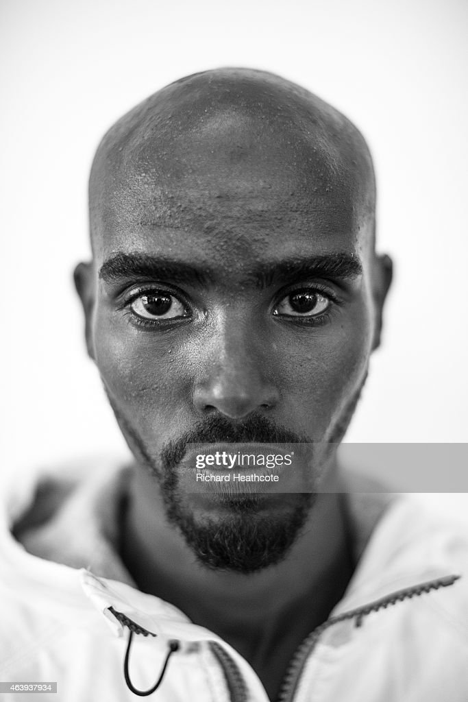 Mo Farah poses for a portrait during a media session at the Crowne Plaza Hotel on February 20 2015 in Birmingham England The Sainsbury's Indoor Grand...