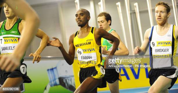 Mo Farah runs in the middle of the pack in the early stages of the Men's 1500m during Aviva European Trials and UK Championships at the English...