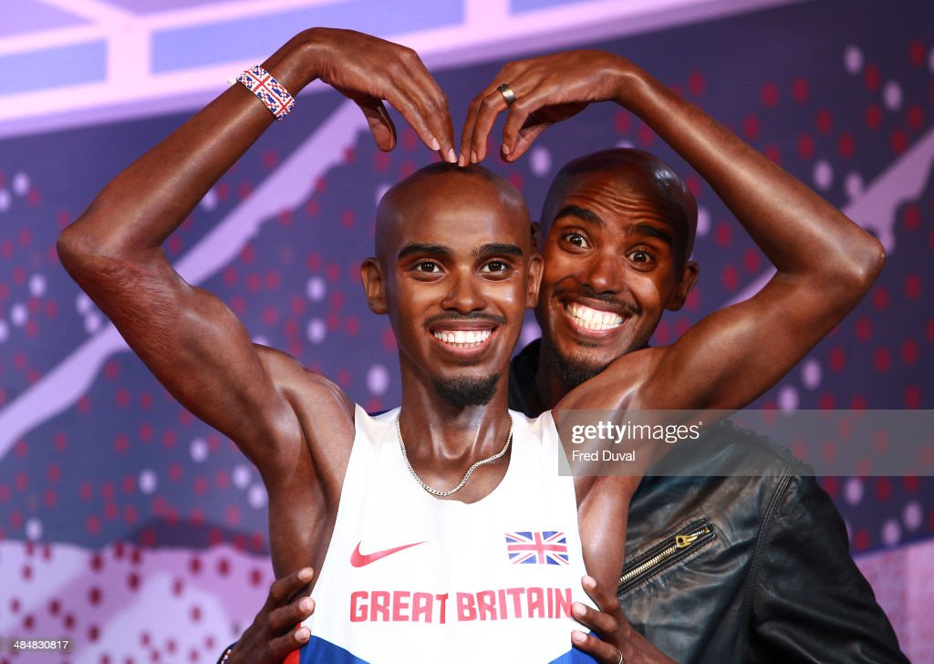 <a gi-track='captionPersonalityLinkClicked' href=/galleries/search?phrase=Mo+Farah&family=editorial&specificpeople=4819130 ng-click='$event.stopPropagation()'>Mo Farah</a> unveils his wax figures for London and Blackpool attractions at Madame Tussauds on April 14, 2014 in London, England.