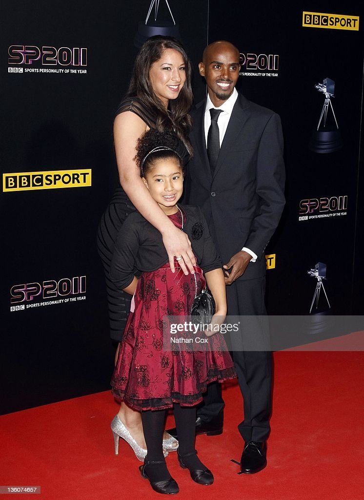 Mo Farrer, wife Tania Nell and daughter Rihanna attend the awards ceremony for BBC Sports Personality of the Year 2011 at Media City UK on December 22, 2011 in Manchester, England.