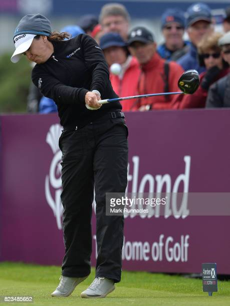 Mo Martin of USA plays her tee shot to the 1st hole during the first day of the Aberdeen Asset Management Ladies Scottish Open at Dundonald Links...