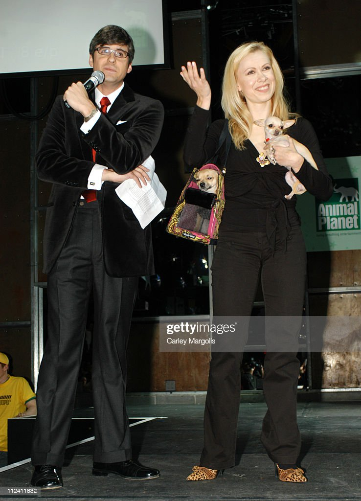 Mo Rocca and Oksana Baiul during Animal Planet Unleashed Fashion Show at Crobar in New York City New York United States