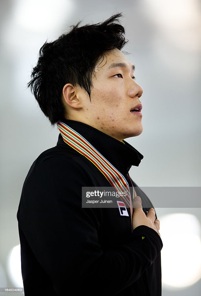Mo Tae-Bum of Korea holds his golden medal while his countries national anthem plays on the podium after the 500m race on day four of the Essent ISU World Single Distances Speed Skating Championships at the Adler Arena Skating Center on March 24, 2013 in Sochi, Russia.